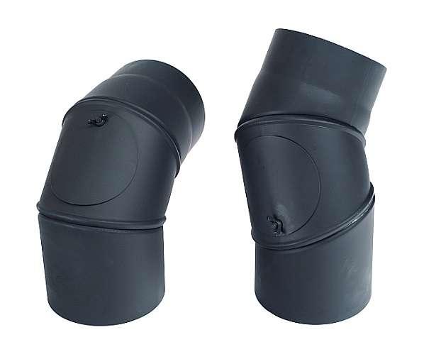 KRATKI Dymovod koleno nastaviteľné + čistiaci 0° - 90°, Ø 150 mm Kraus